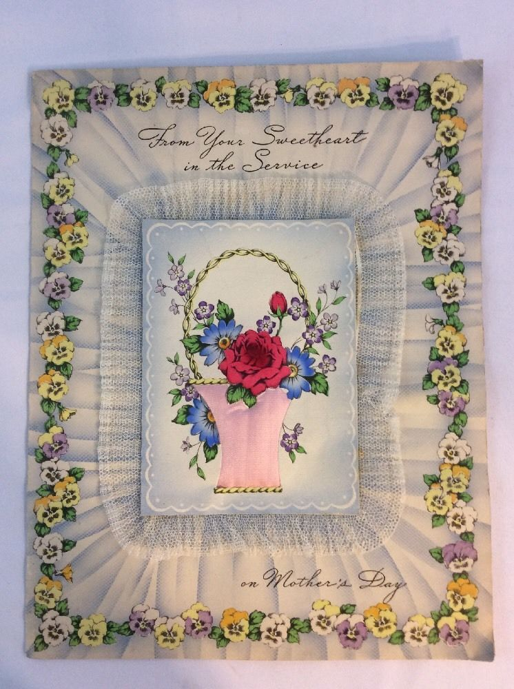 Vtg Mothers Day Greeting Card From Service Member Lace Silk Pillow