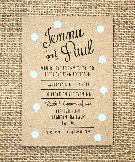 Cute Wedding Invitation Wording Samples: Pastel Blue Polka Dot Evening Wedding By LittleIndieStudio