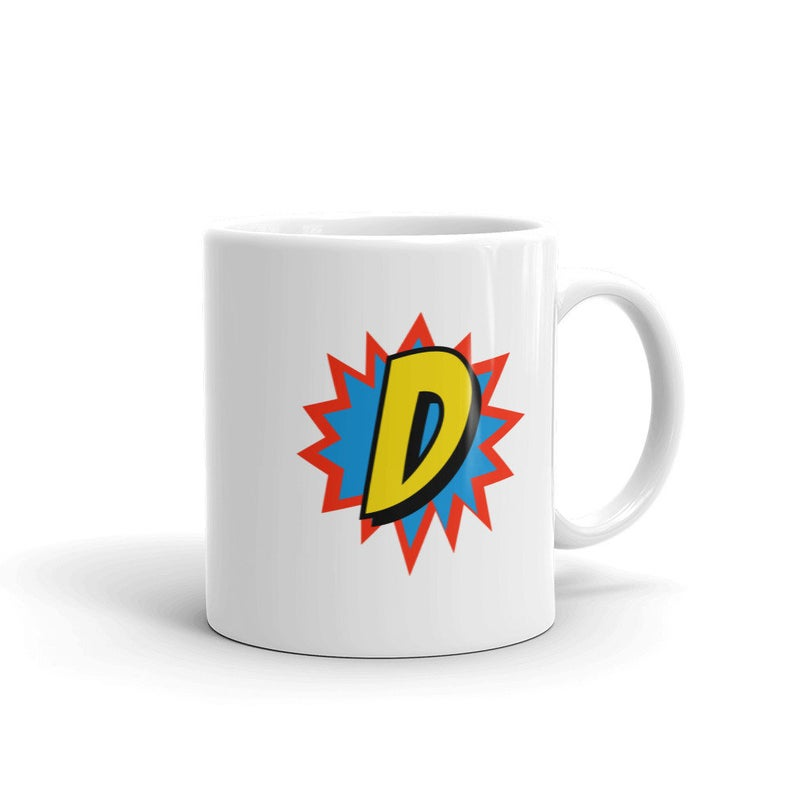 Comic Mug Superhero Gift Letter D   Coffee Mug, Travel Mug, Funny Quote Mugs,Birthday Gift For Men & Women, Monogram Mug #superherogifts