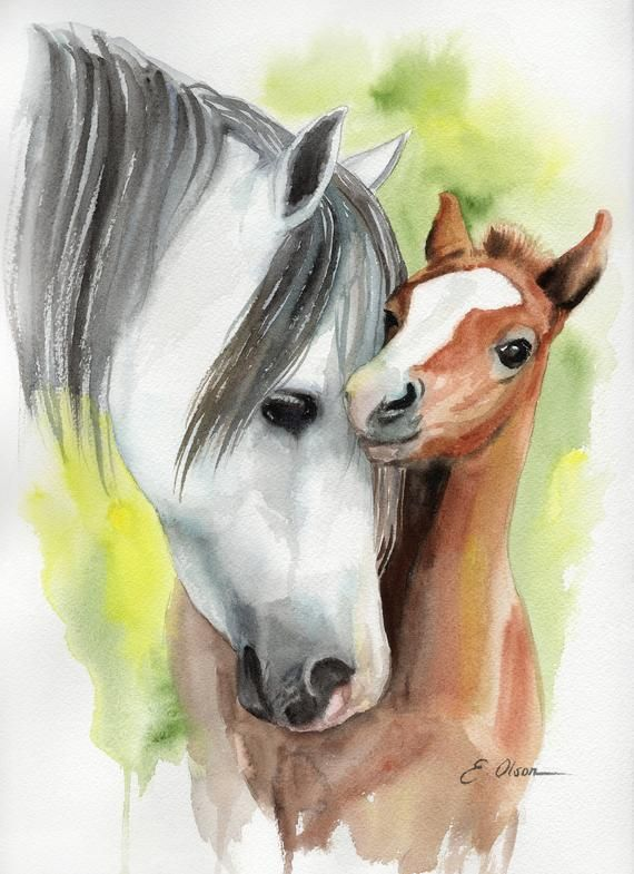 ORIGINAL Watercolor Horse Painting, Foal horse wall art Nursery decor, Farm animal art, Baby animal art, Mother & Baby horse wall art decor