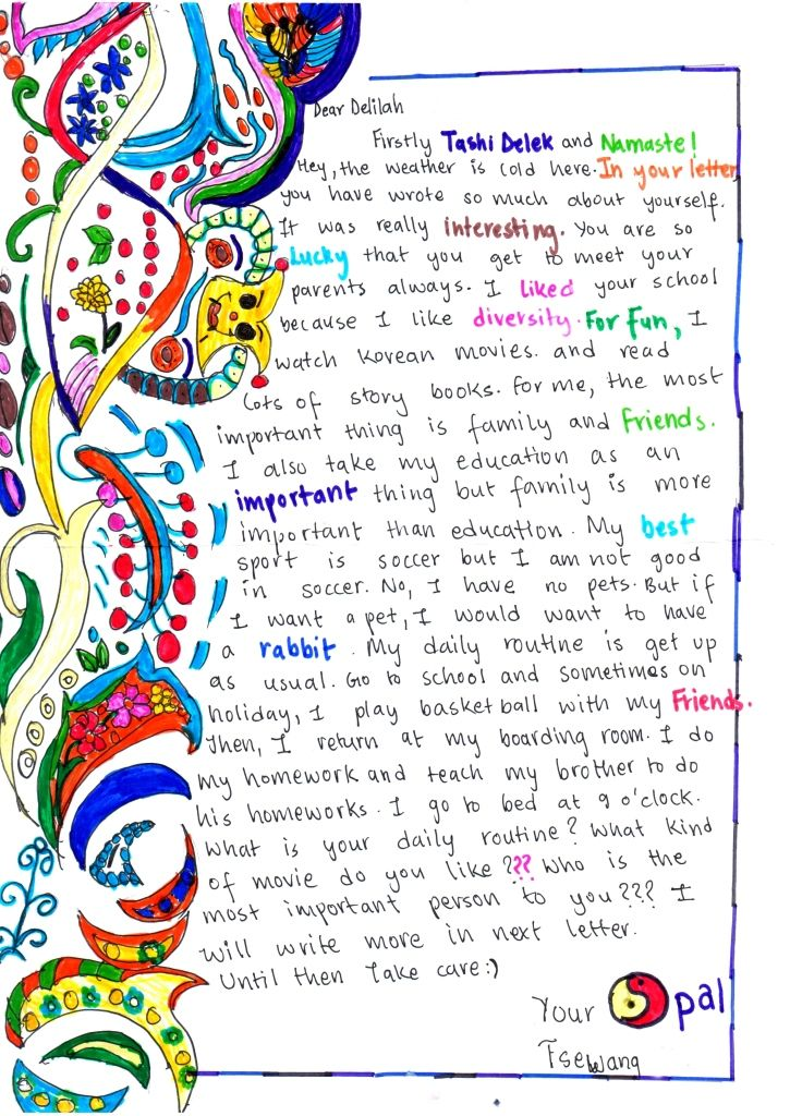 A pen pal letter from a student in Nepal to her friend in