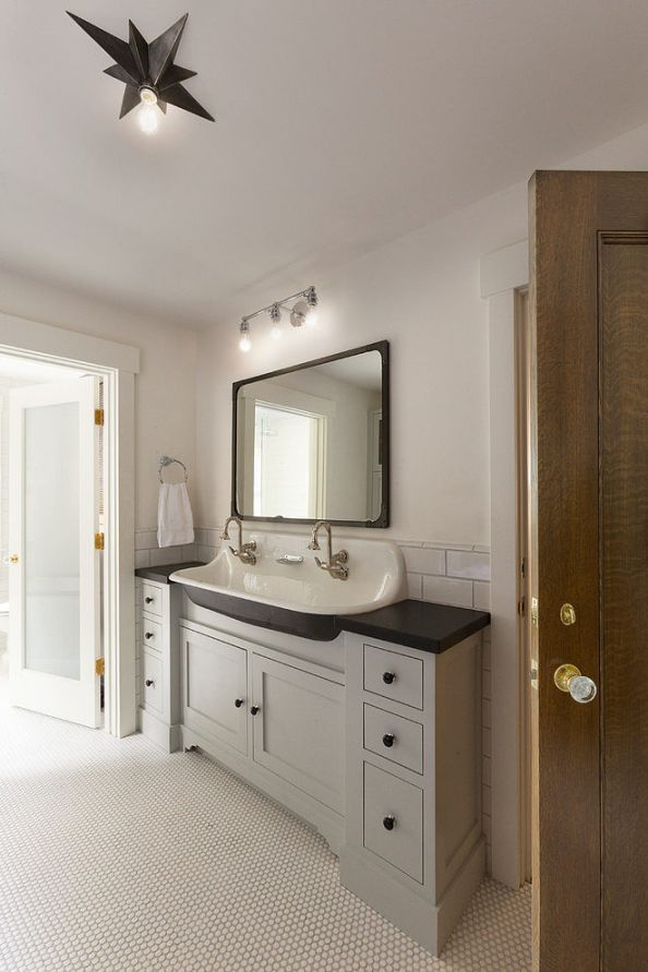 Modern Cottage Vanity With Farm House Sink Two Wall Mount Faucets Frosted Gl Door To Toilet Oil Rubbed Bronze Hardware