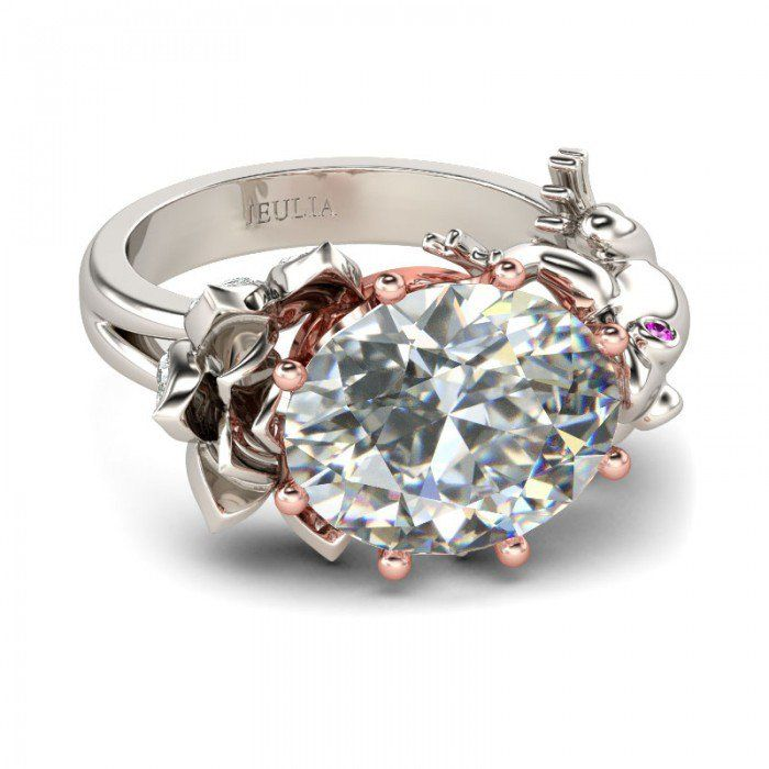 Lotus & Frog with Rose Gold Crown 2-tone Oval Cut Created White Sapphire Rhodium Plating Sterling Silver Frog Ring