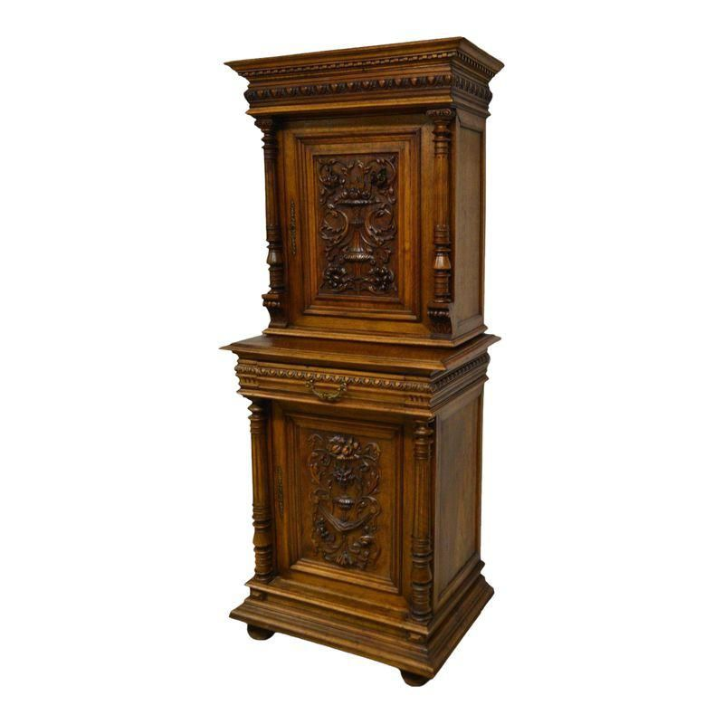Antique 1800 S Carved Walnut Pantry Cabinet Antiques Cabinet Storage Cabinets