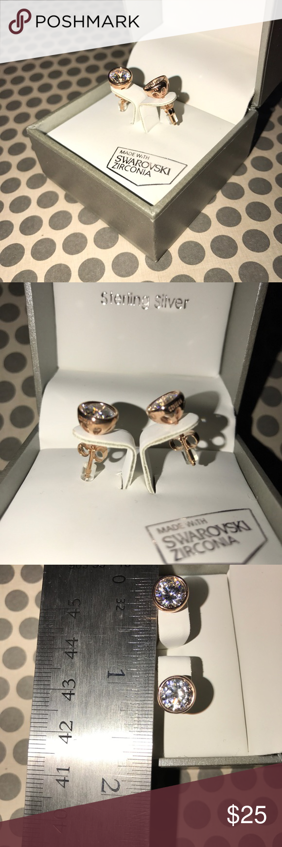 Swarovski Rose Gold Cubic Zirconia Earrings Studs Kiera Couture Over Sterling Silver