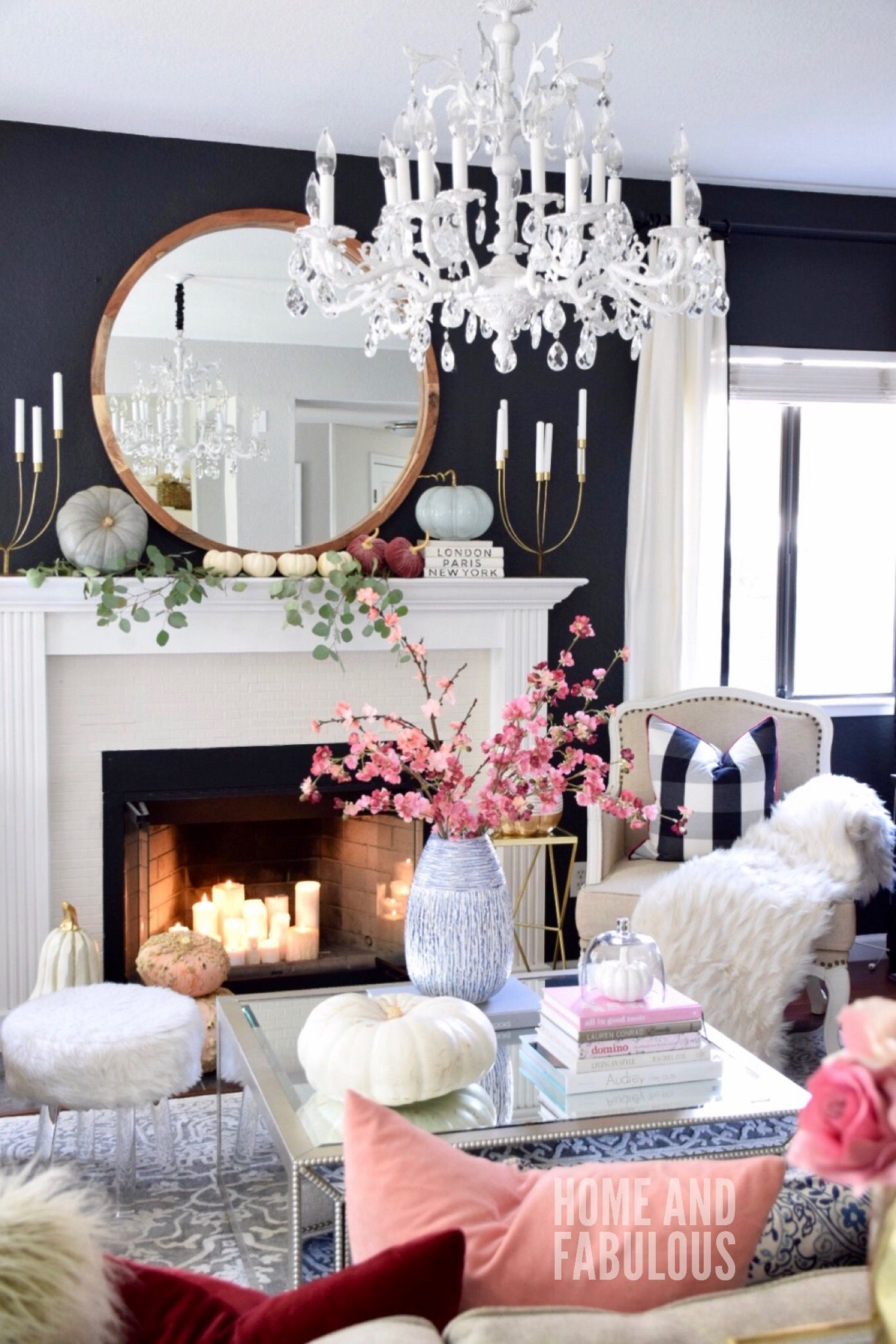 Fall ready living room white fireplace living rooms and room