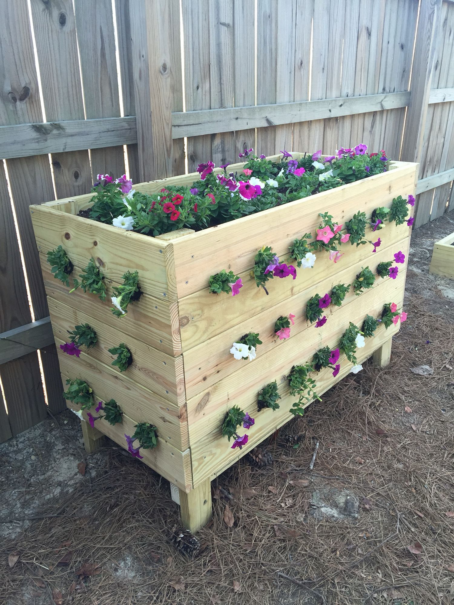 Handmade Flower Box Made 2 Holes For Wave Petunias To Be Added