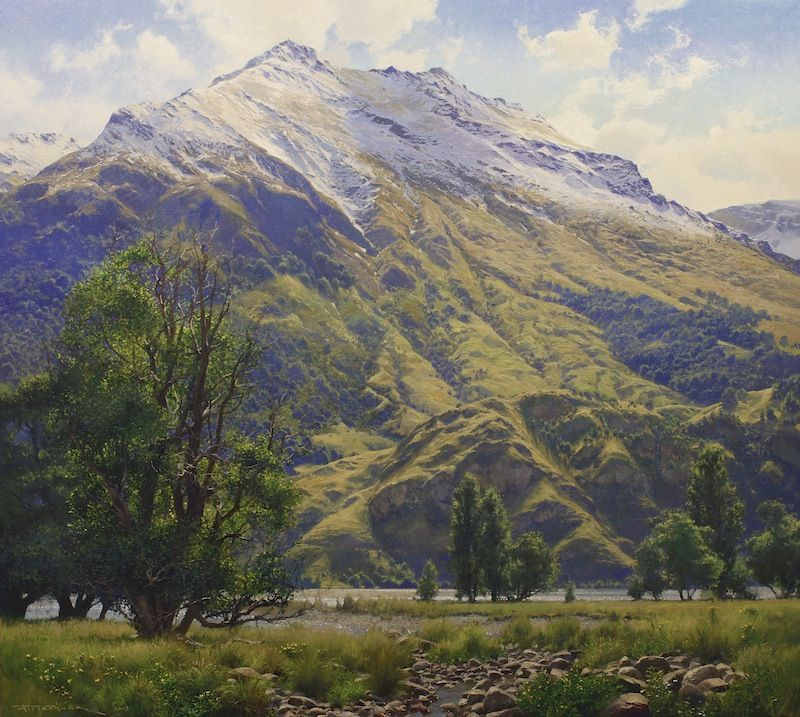 Oil Painting Of Wanaka Mountains, New Zealand, By Andrew