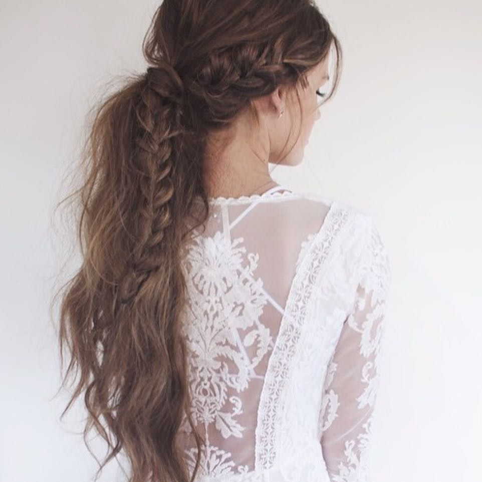 Loose messy ponytail with soft waves & braid. This look can do no ...