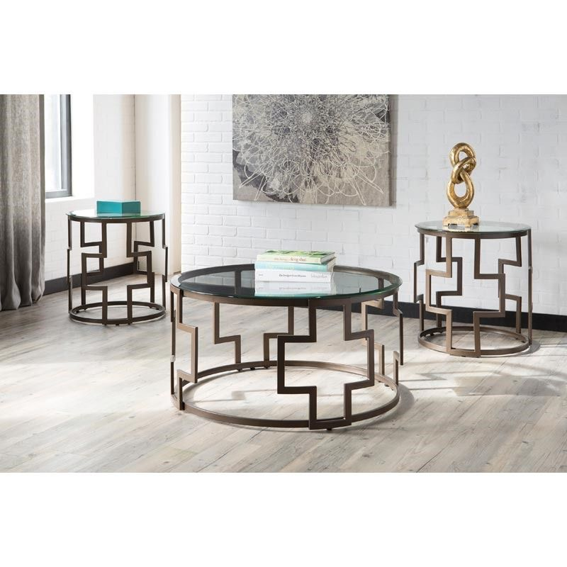 Ashley Frostline Metal And Glass 3 Pack Of Tables Living Room