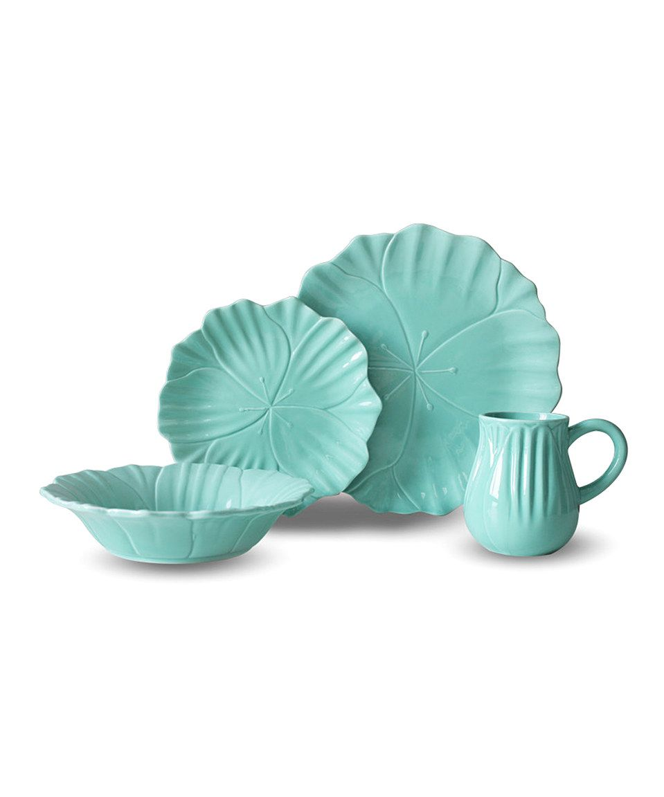 Love This Teal Tulip 16 Piece Dinnerware Set By Euro