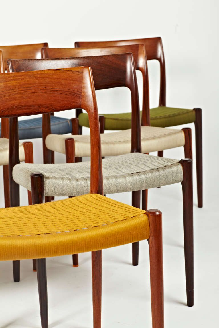 Niels Otto Moller Rosewood Dining Chairs In Original Woven