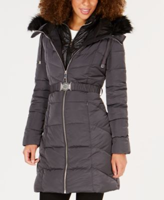 f714d7f920b Guess Faux-Fur-Trim Hooded Belted Puffer Coat - Red XS   Products in ...