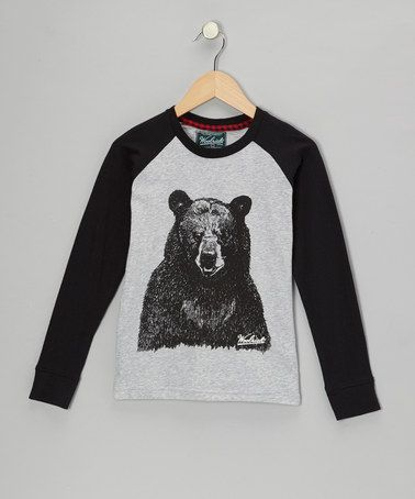 Another great find on #zulily! Heather Gray Bear Raglan Tee - Toddler & Boys #zulilyfinds