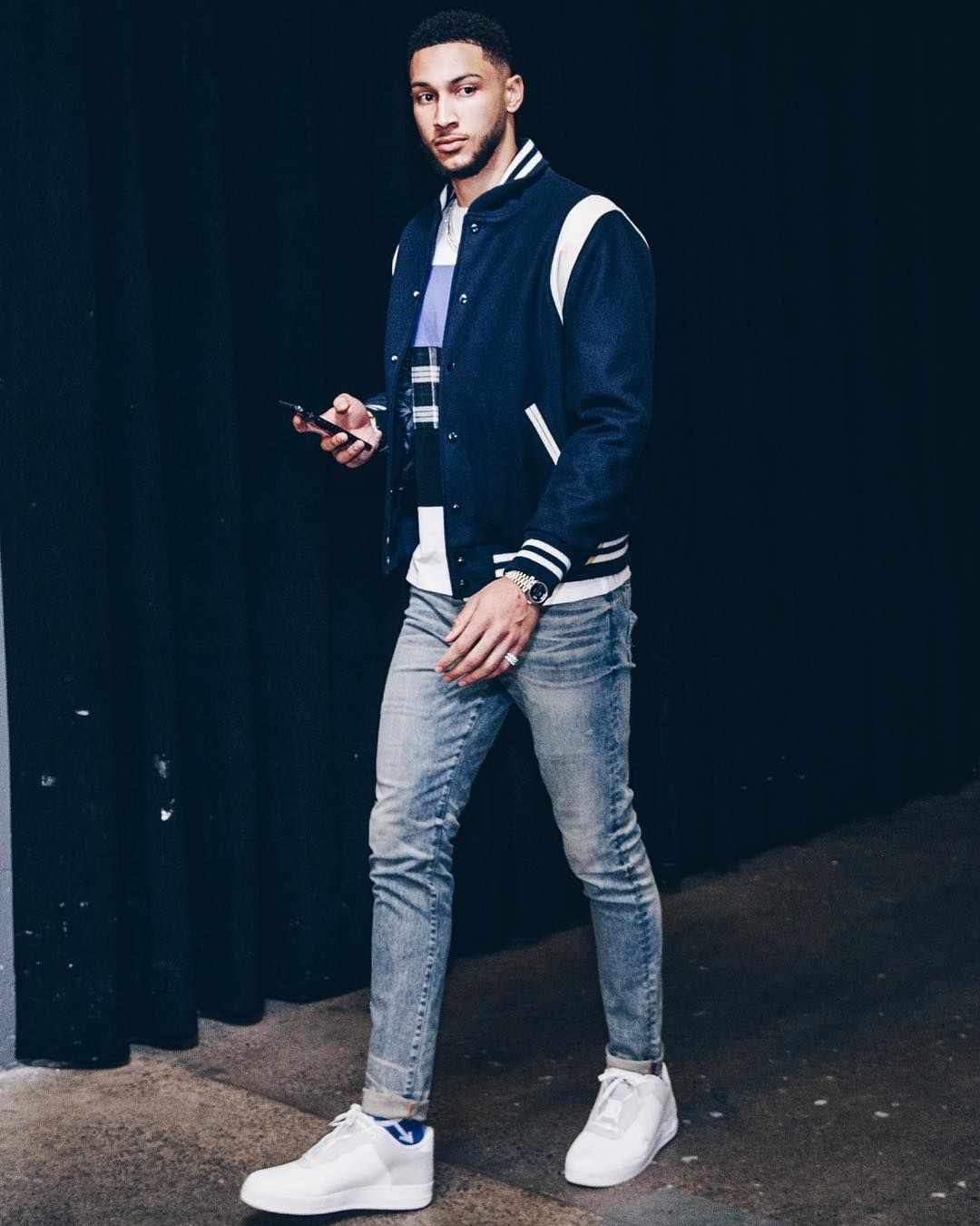 Bensimmons Wears A Goldenbearsportswear Jacket Acoldwall X Nike Af1 Sneakers Off White Socks For Nba Outfit Nba Fashion Mens Fashion Casual Outfits