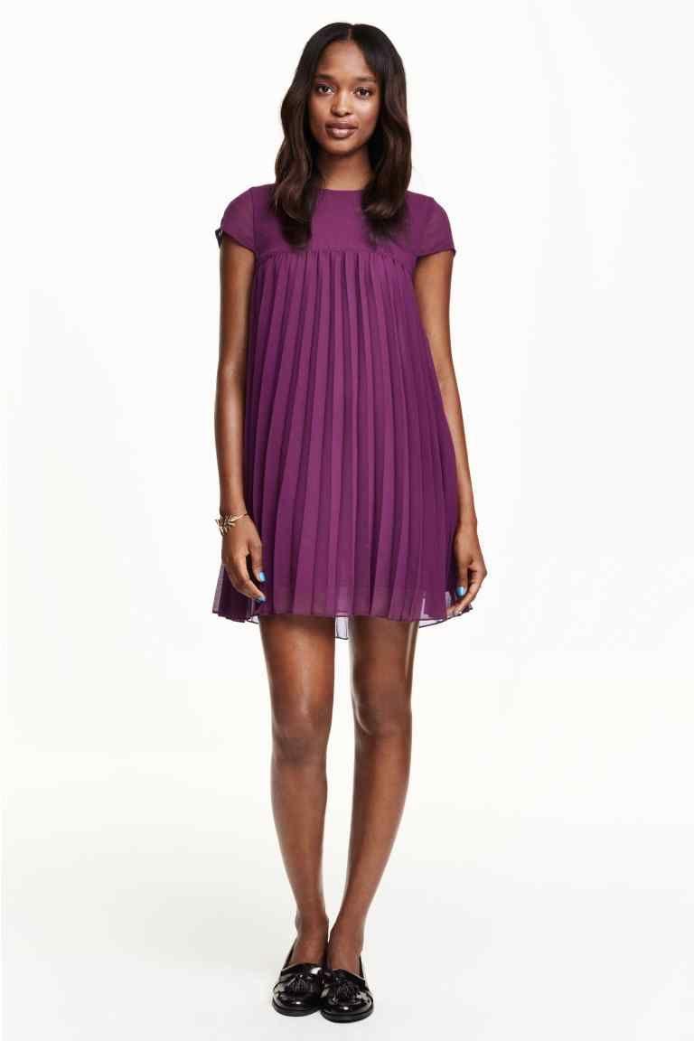 Vestido plisado de gasa | H&M | nnnnn | Pinterest | Vestidos ...