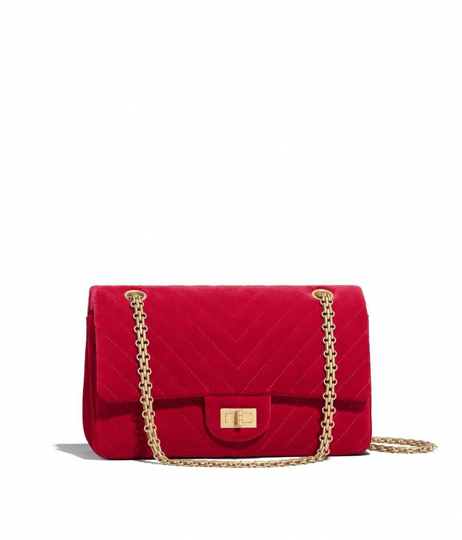 3073c806ace3 Velvet amp Gold Tone Metal Red 2 55 Handbag-Discover the CHANEL Velvet  #LeatherHandbagsSaintLaurent #Chanelhandbags