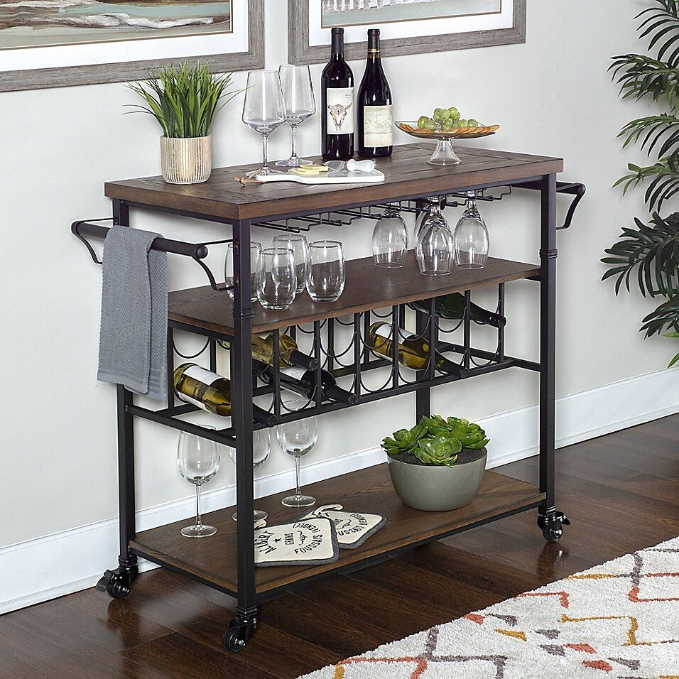 Linon Home Décor Products Austin Wine Cart In Black - The Linon Home Decor Products Austin Wine Cart is perfect for adding storage to small dining rooms and kitchens. With ample room to store all of your wine bottles, glasses and alcohol, this cart is on rolling casters for easy mobility.