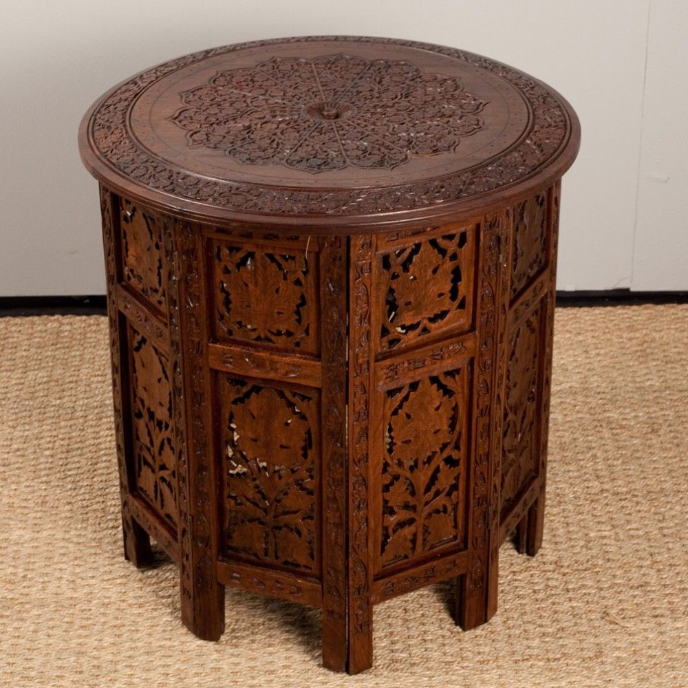Anglo Indian Elaborately Carved Round Rosewood Folding Table. Relaxation  MeditationFolding ...