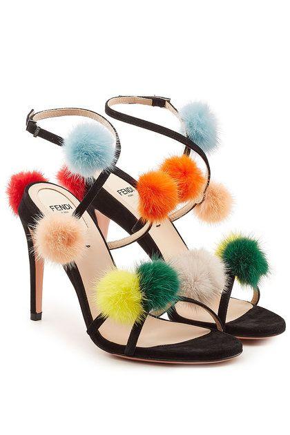 48a79881ba4 Suede Sandals with Mink Fur Pompoms
