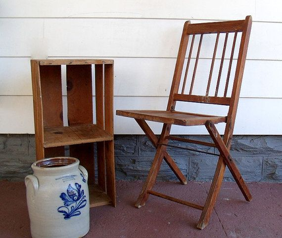 Early Wooden Folding Chair Vintage Funeral Home Seating Rustic