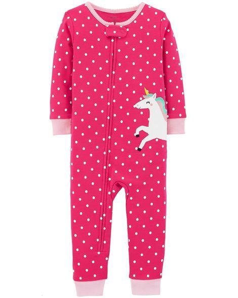 c7b8fa68d 1-Piece Unicorn Snug Fit Cotton Footless PJs