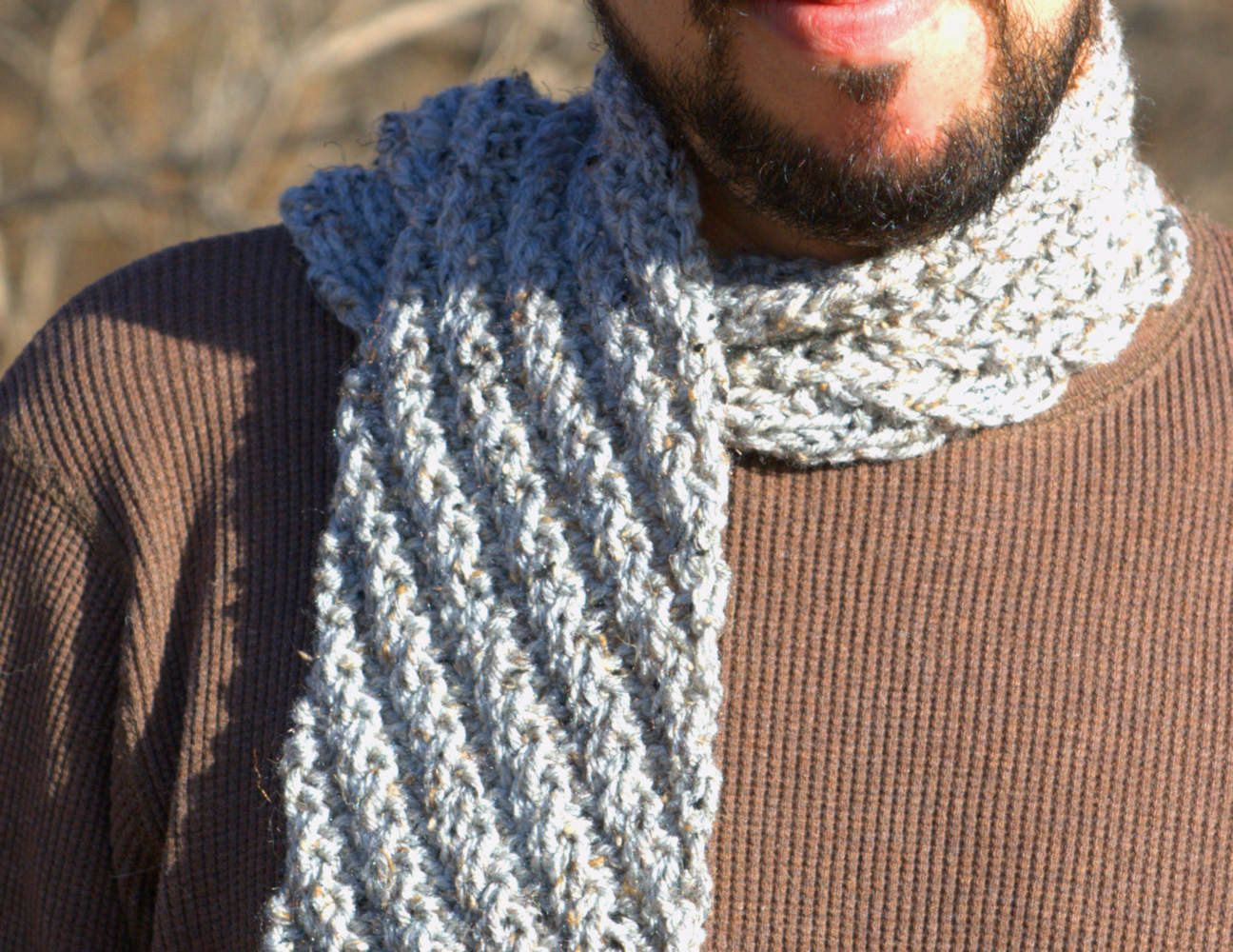 Grey Mens Scarf Hand Knit by ScarfAceKnits on Etsy Hand ...
