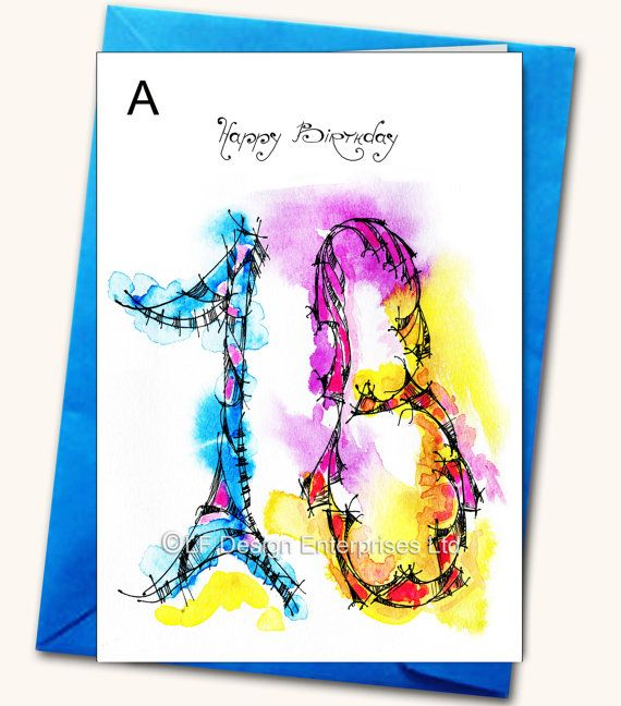 18th Birthday LARGE Greeting Card Personalised by LubaFenwickGifts – Large Birthday Cards Personalised