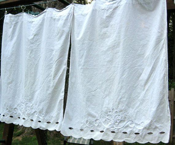 Curtains Ideas cotton curtains white : RESERVED --- 3 Vintage Battenburg Lace CURTAINS- white, cotton ...