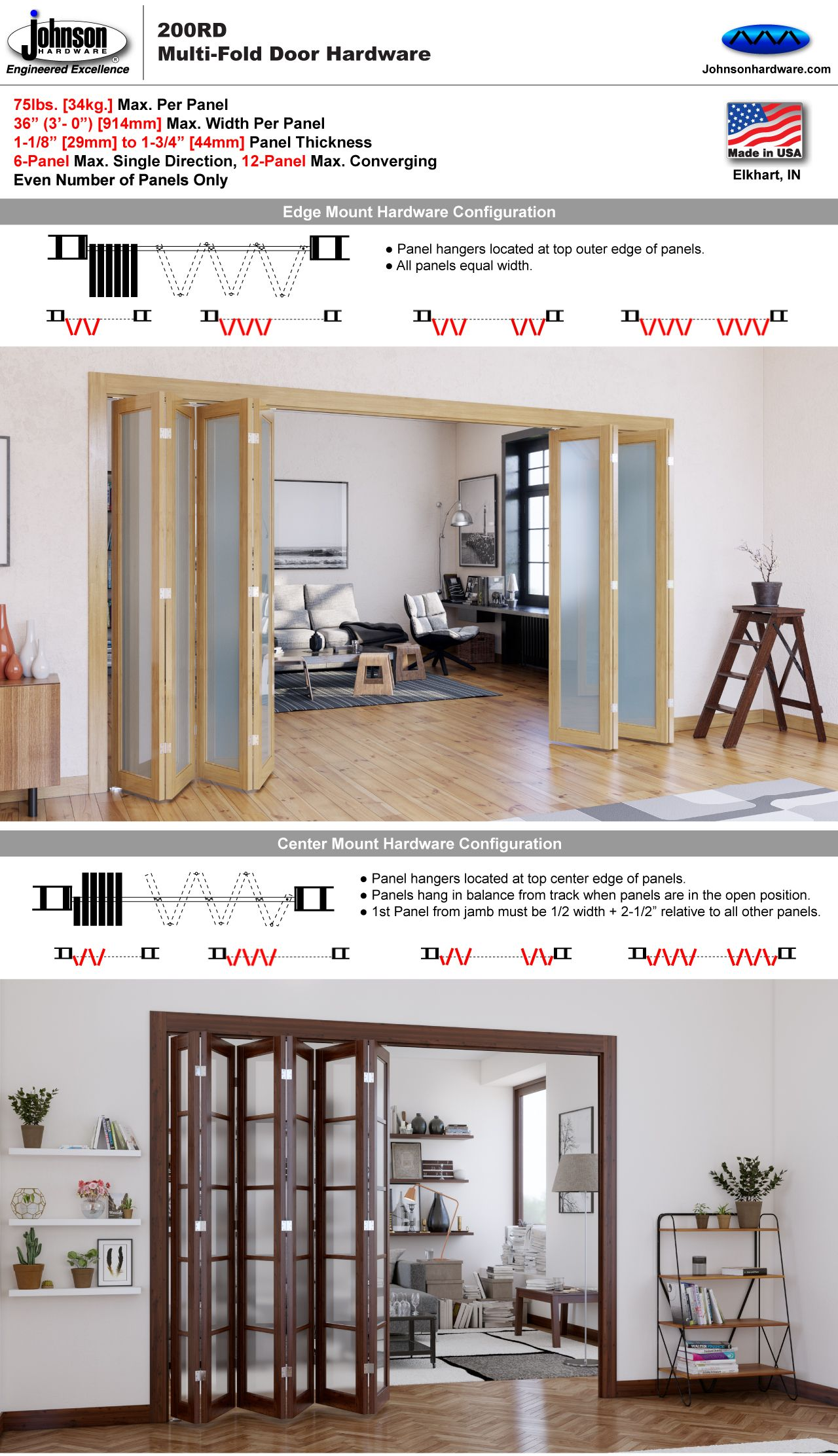 Johnson Hardware 200rd Multi Fold Door Hardware Johnsonhardware Com Sliding Folding Folding Doors Interior Folding Door Hardware Sliding Folding Doors