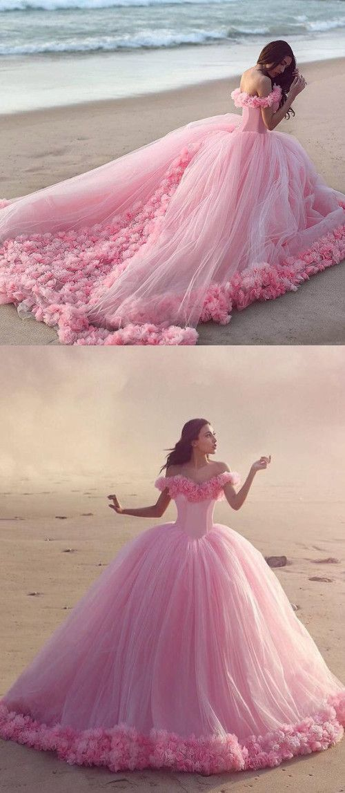 Pink Ball Gown Tulle Wedding Dress,2018 new arrival wedding ...