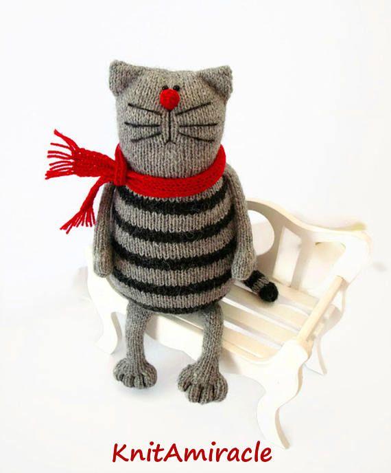 Toy Cat Knitting Pattern Pdf Animal Knitting Pattern Knitted