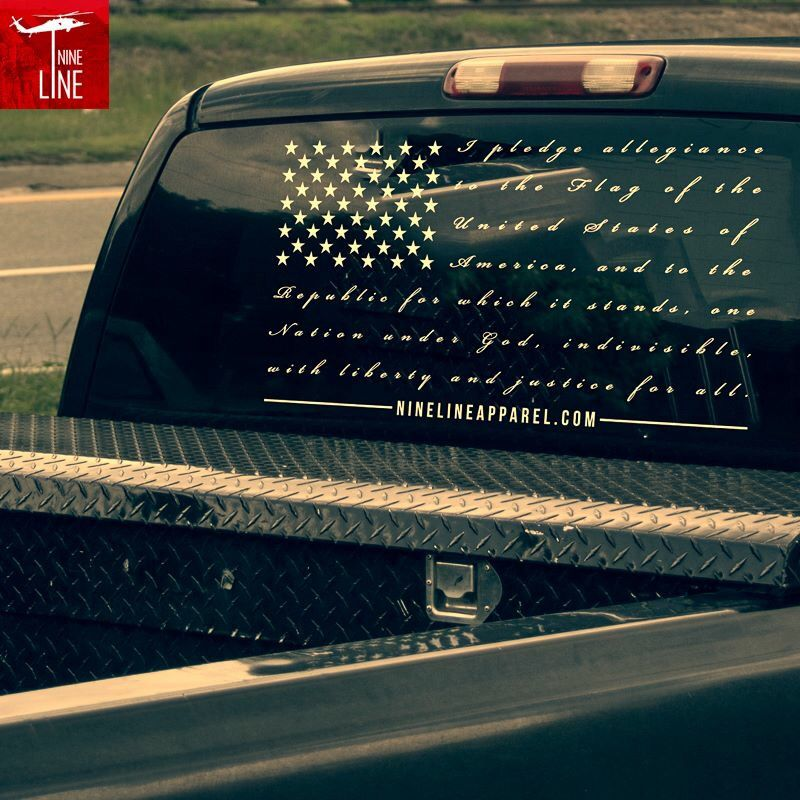 5d04d9d4b4 Pledge allegiance rear window decal from Nineline apparel