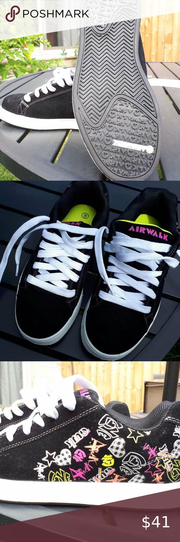 Airwalk Black Velvet Sneakers - Size 8