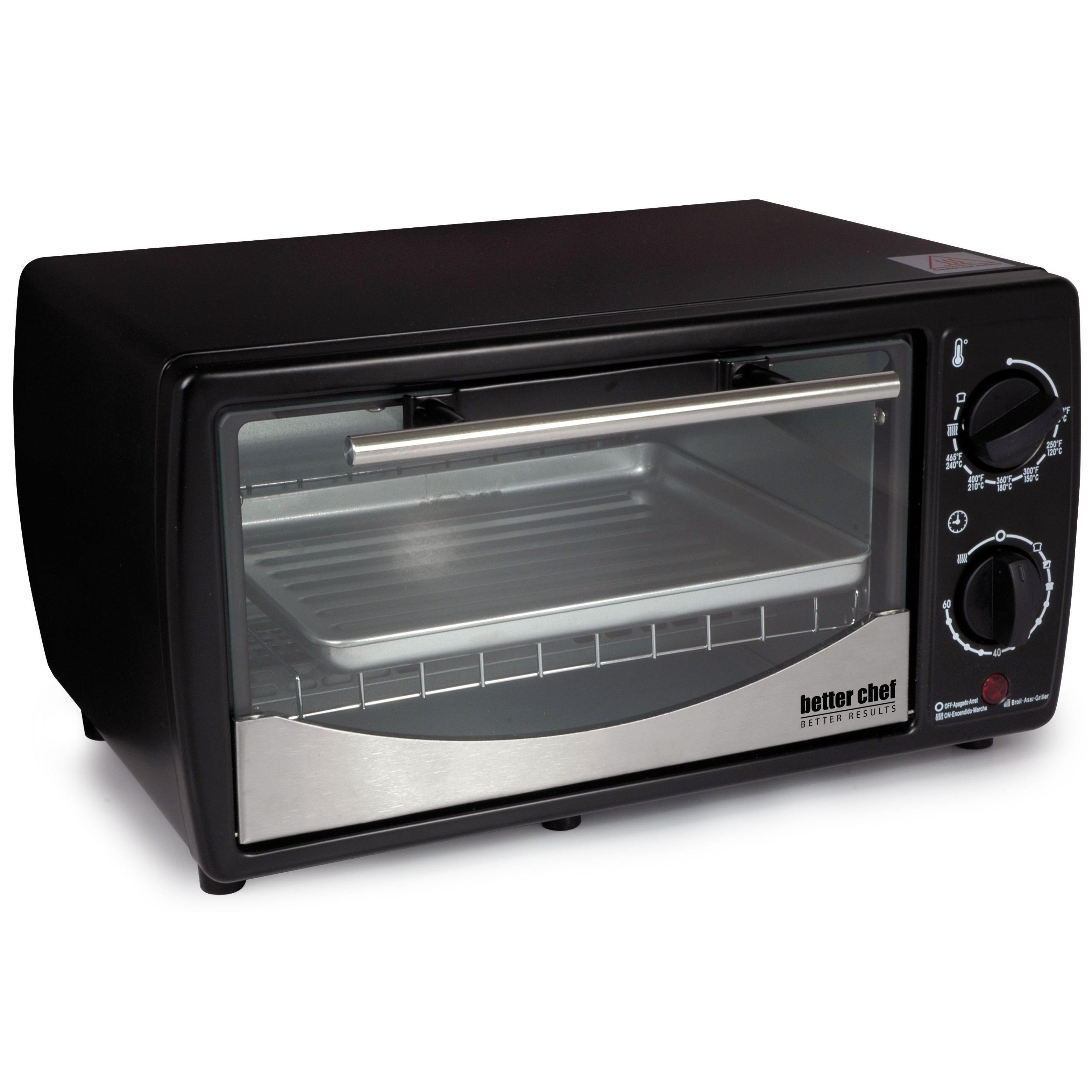 Better Chef 9 Liter Toaster Oven Broiler Black Metal Tempered Glass Door Countertop Oven Best Chef