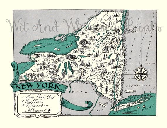 Vintage Map of NEW YORK Adorable by WitAndWhimseyPrints on Etsy ...