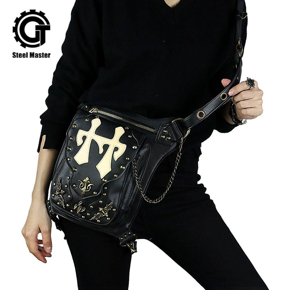 Gothic Handbag Steampunk Waist Bag Fashion Bat Wing Leg Bag Waist Pack