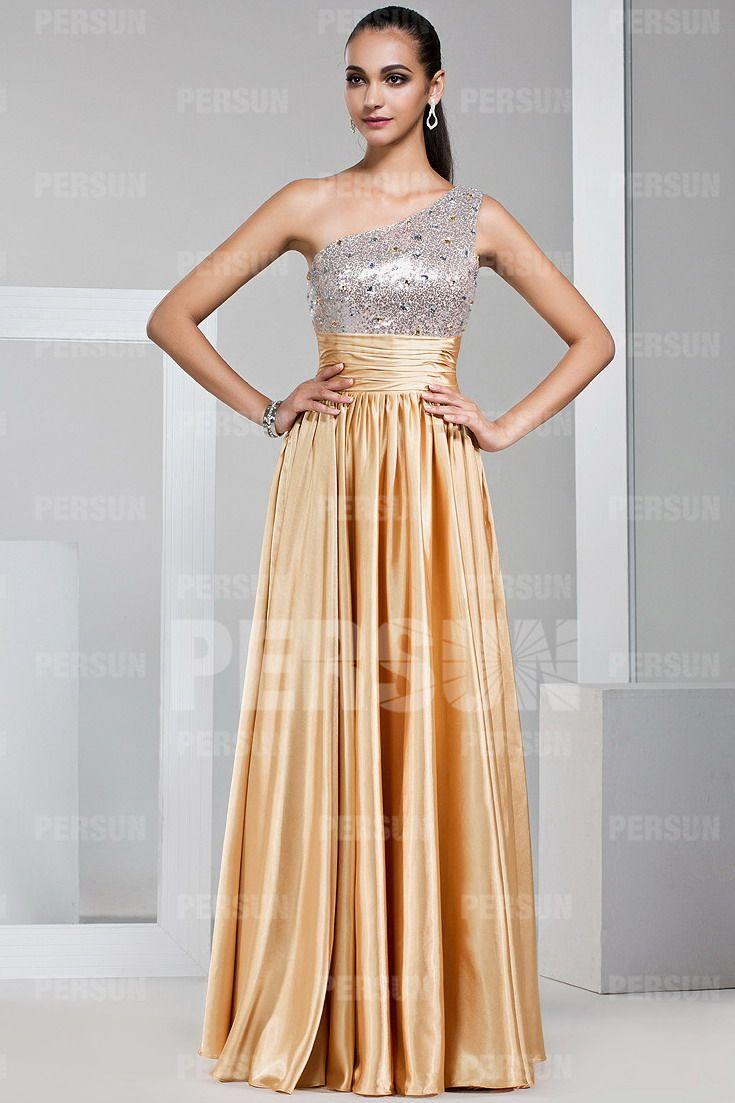 62d5539702b Robe soirée asymétrique dorée longue à bustier argenté pour mariage -  Robespourmariage.fr