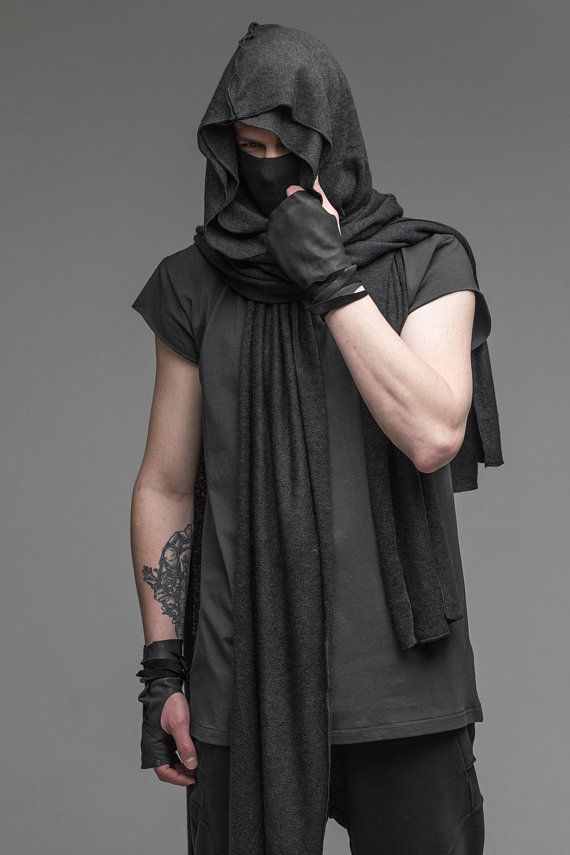 extra long scarf mens hooded scarf black cowl shawl on men s insulated coveralls with hood id=12254