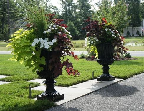 Fantastic Large Black Fluted Urns Bring. Urn PlantersGarden ...