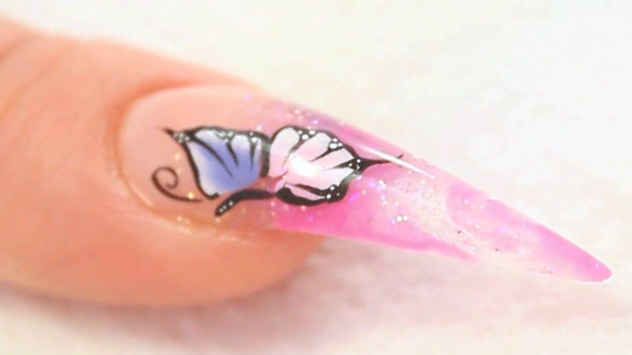 One Stroke Butterflies On Marbleized Acrylic Nail Design Tutorial