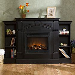 Macon Black Electric Fireplace with Bookcases | Overstock.com Shopping - Great Deals on Indoor Fireplaces   FIRST CHOICE