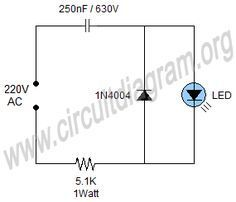 Simple 220V Mains Indicator LED Circuit Diagram (con