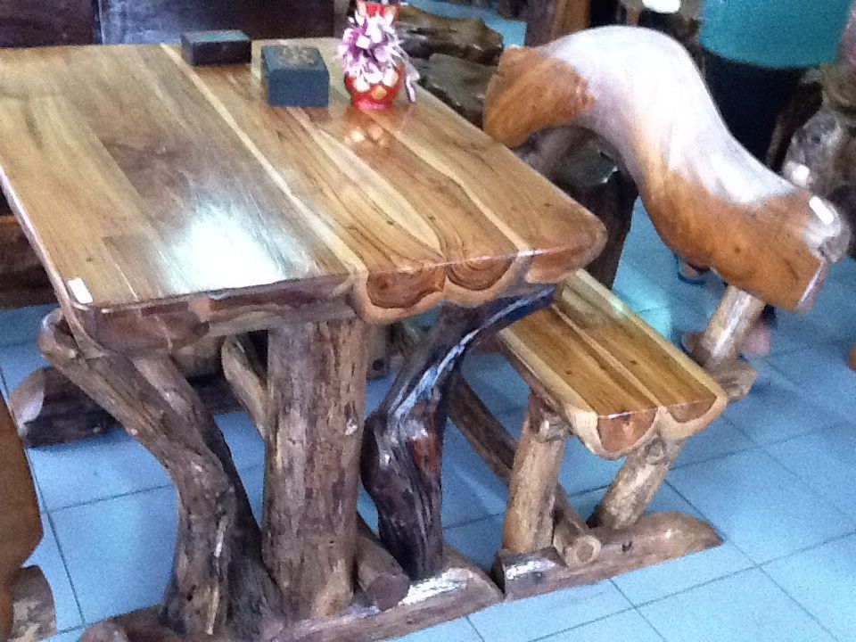 Handcrafted Teak Picnic Table With Benches From Chiang Mai Thailand - Teak picnic table with benches