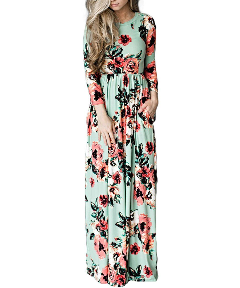Yumdo Women S 3 4 Sleeve Floral Dress Casual Stretch Maxi Long Dresses Floral Dress Casual Maxi Dress Maxi Dress With Sleeves [ 1200 x 1001 Pixel ]