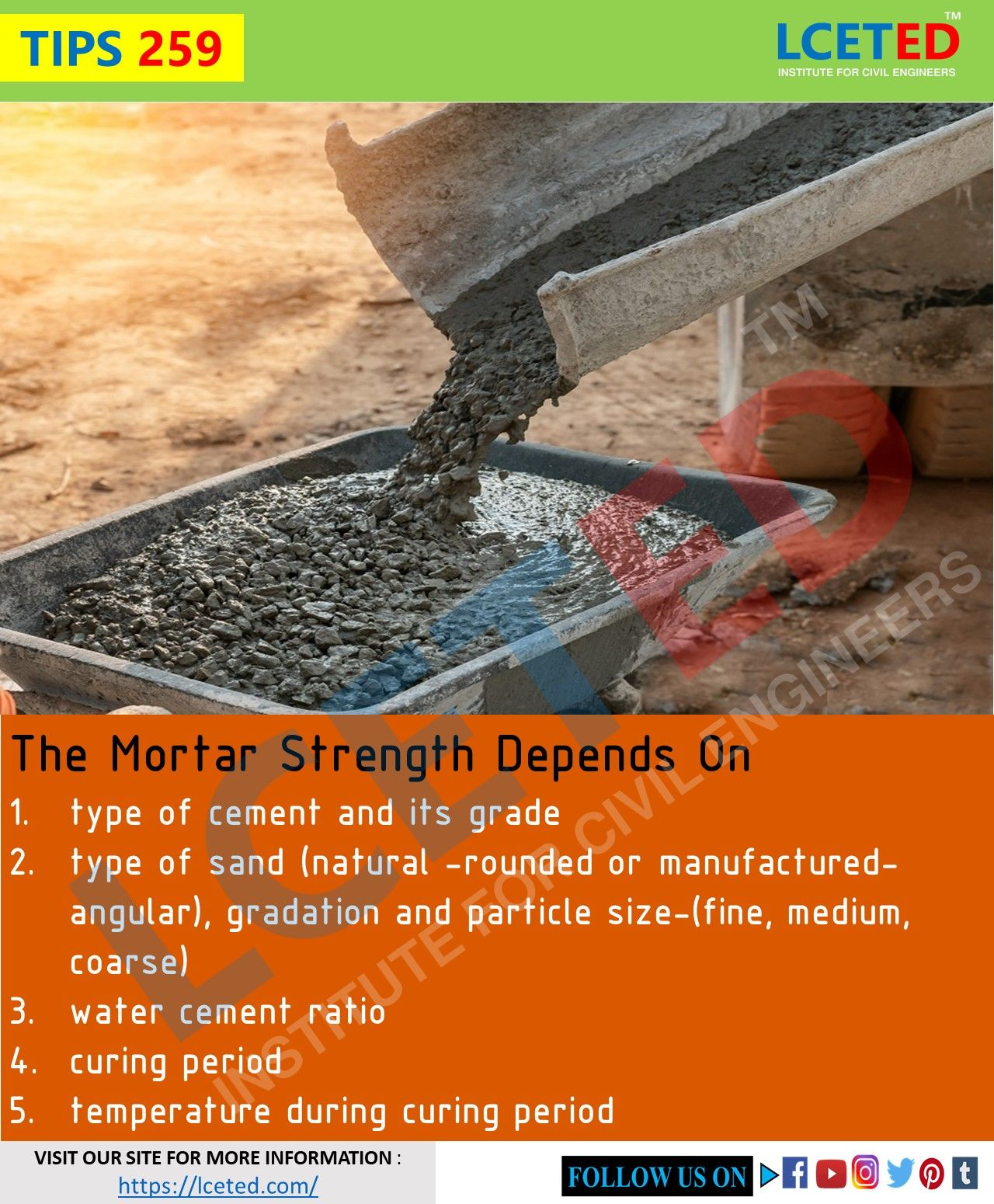Tips 259 Mortar Strength Depends On Civil Engineering Civil Engineering Books Water Cement Ratio