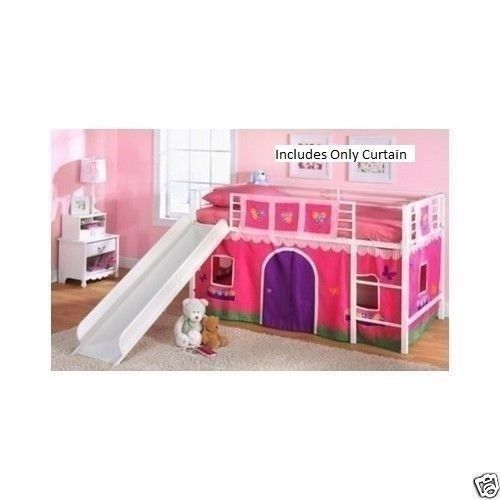 Girls Bunk Bed Curtain Set Flower Princess Twin Loft Furniture Kids