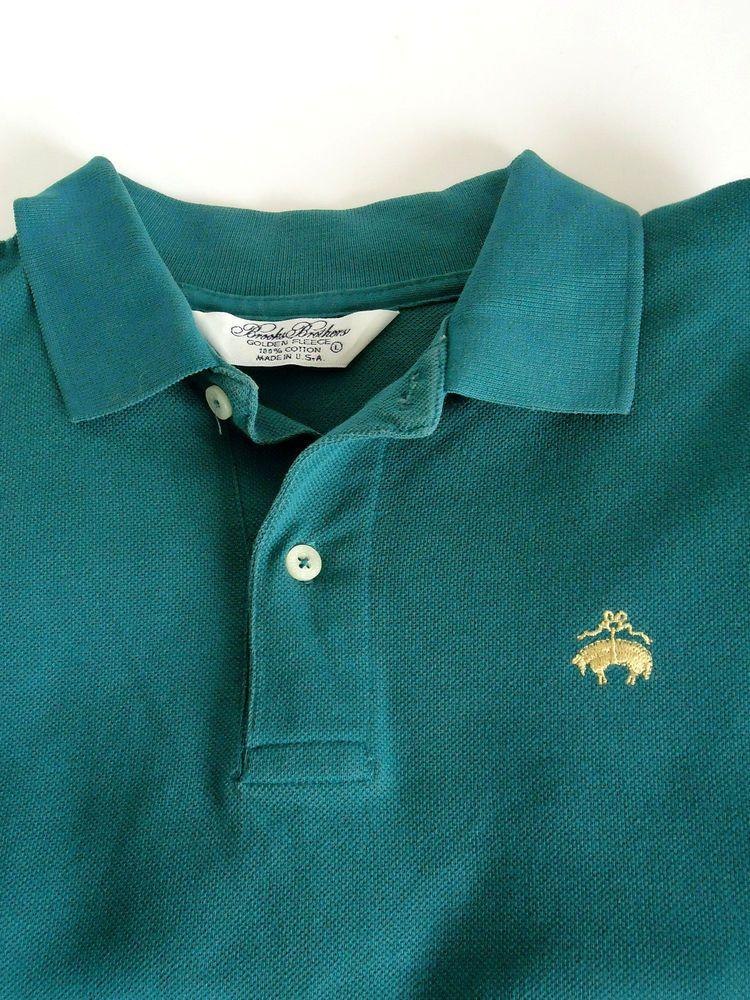 fcc0b03a9 Brooks Brothers Mens Golf Polo Shirt Golden Fleece Logo Short Sleeve L Green  USA