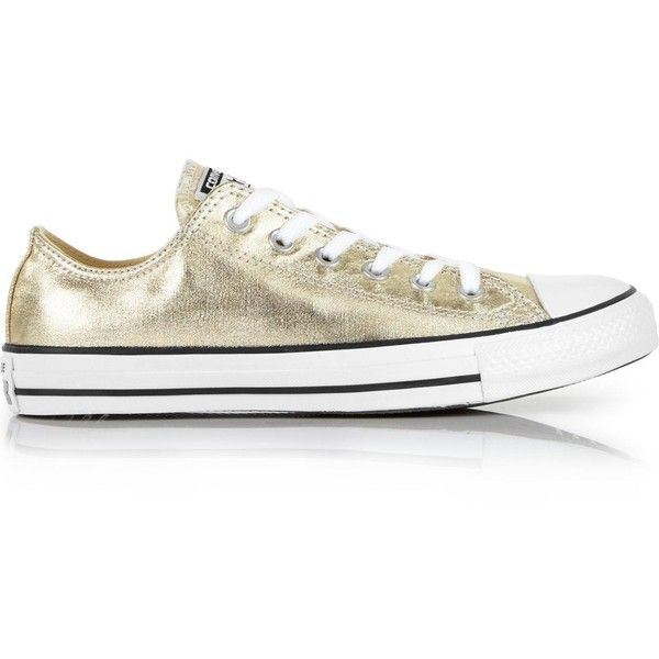 Converse Chuck Taylor All Star Metallic Ox Low Top Trainers (£50) ❤ liked on Polyvore featuring shoes, sneakers, gold, leather lace up sneakers, lacing sneakers, star sneakers, leather shoes and low top