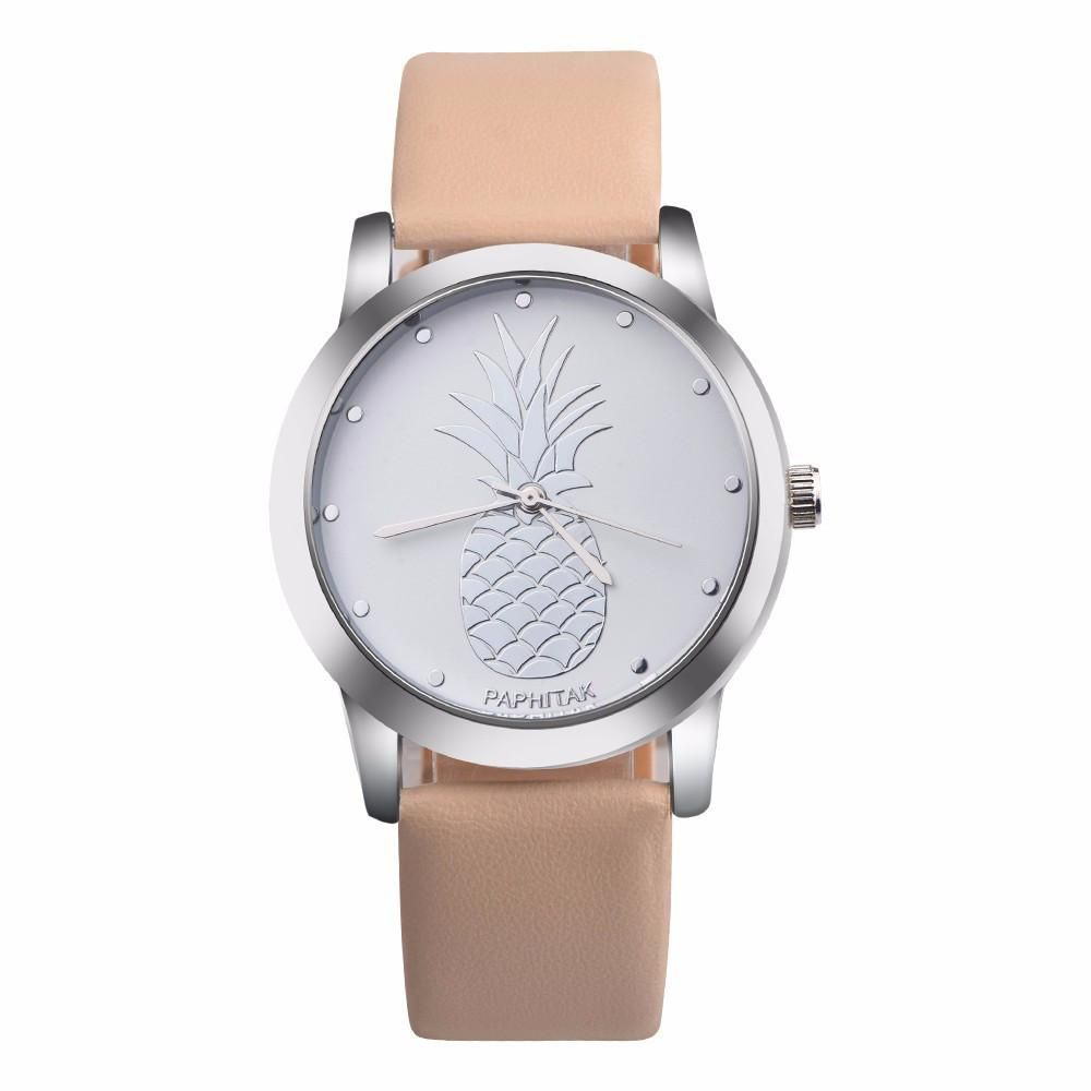 Womens men pineapple leather analog quartz watch products